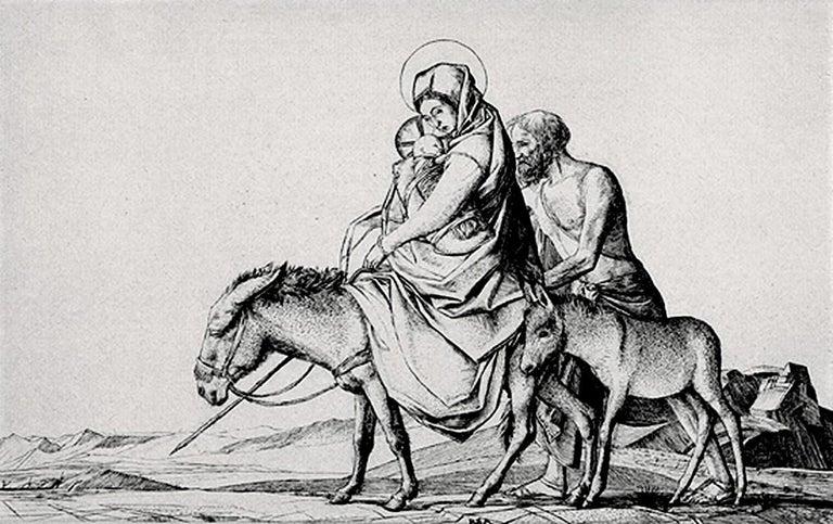 The Flight into Egypt - Pre-Raphaelite Print by Robert Sargent Austin, R.A., P.R.E., P.R.W.S.