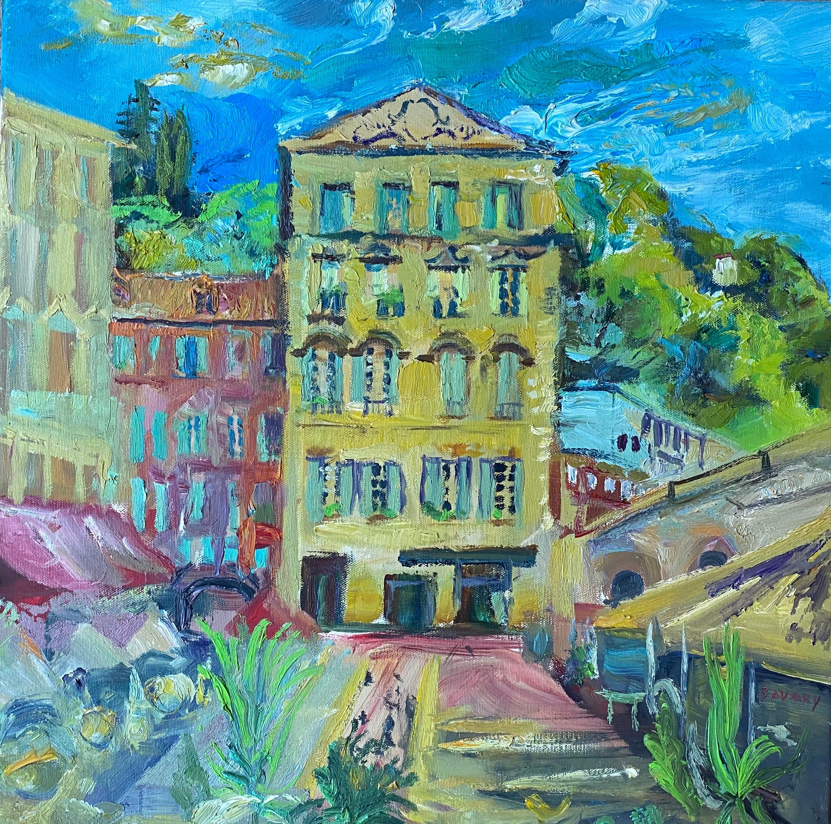 Cours Saleya Nice Market Old Town, Signed Original Oil Painting