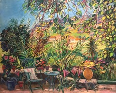 Le Bel Ete ENORMOUS French Oil Painting on Canvas South of France Garden