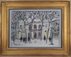 Paris : Snow on Atelier Theater in Montmartre - Original oil on canvas, signed