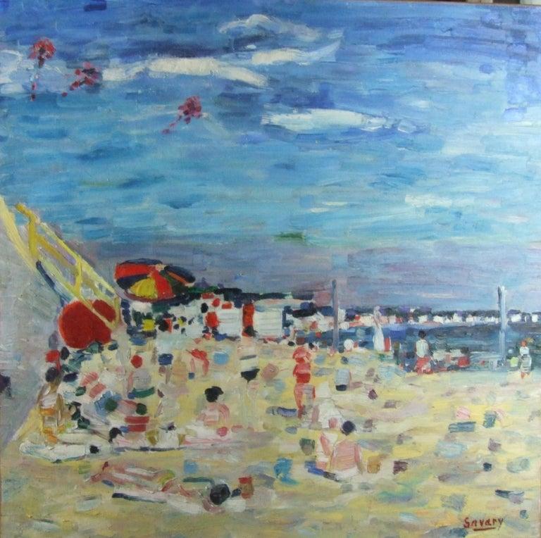 Robert Savary Figurative Painting - Plage - Beach
