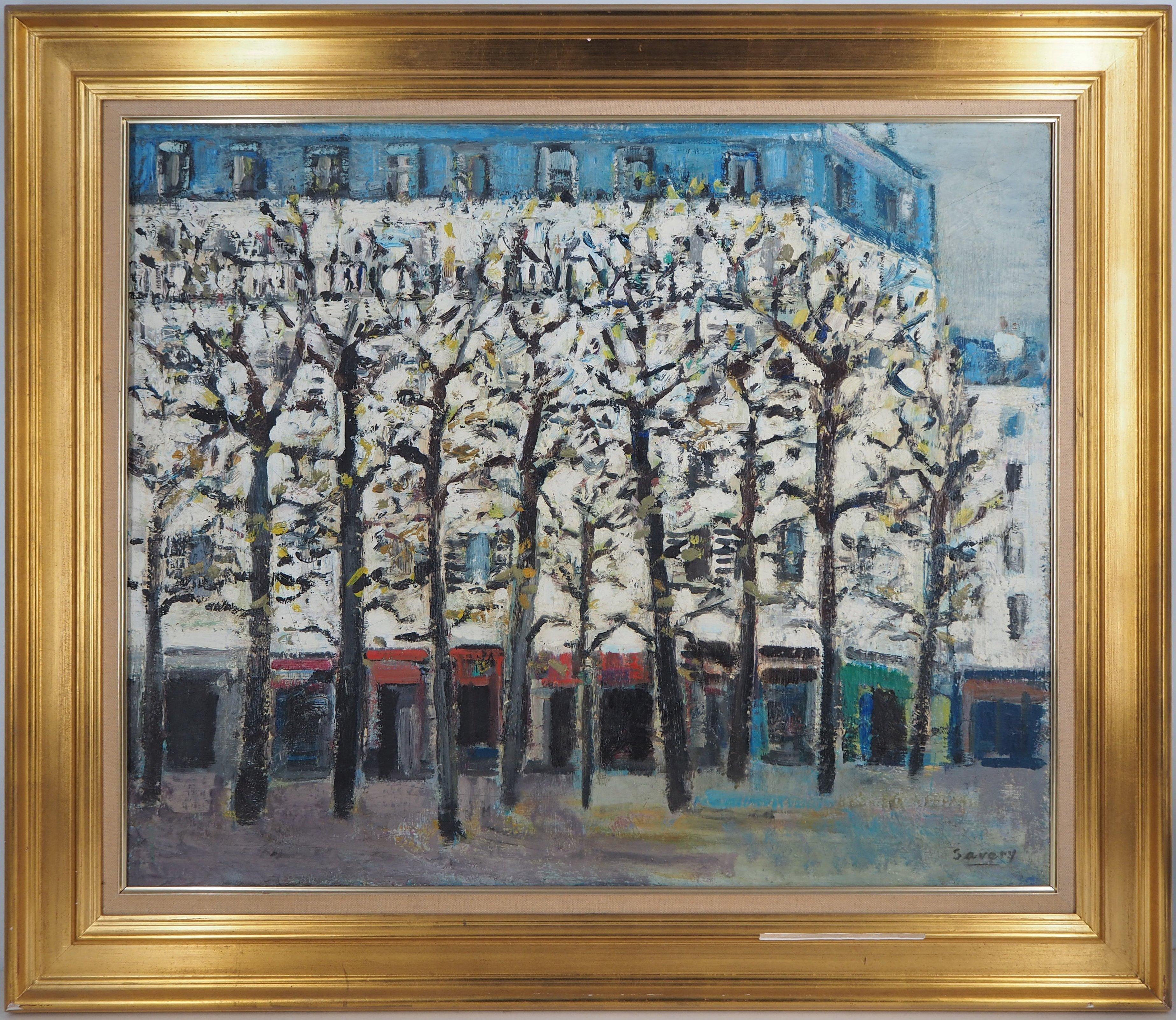 Spring in Paris : Square in Montmartre - Original oil on canvas, signed