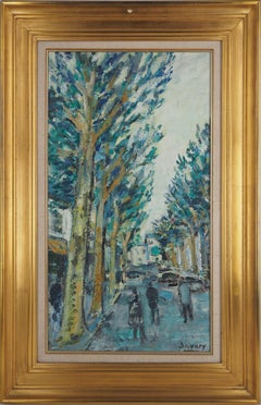 Spring, Tree-Lined Avenue - Original oil painting, signed