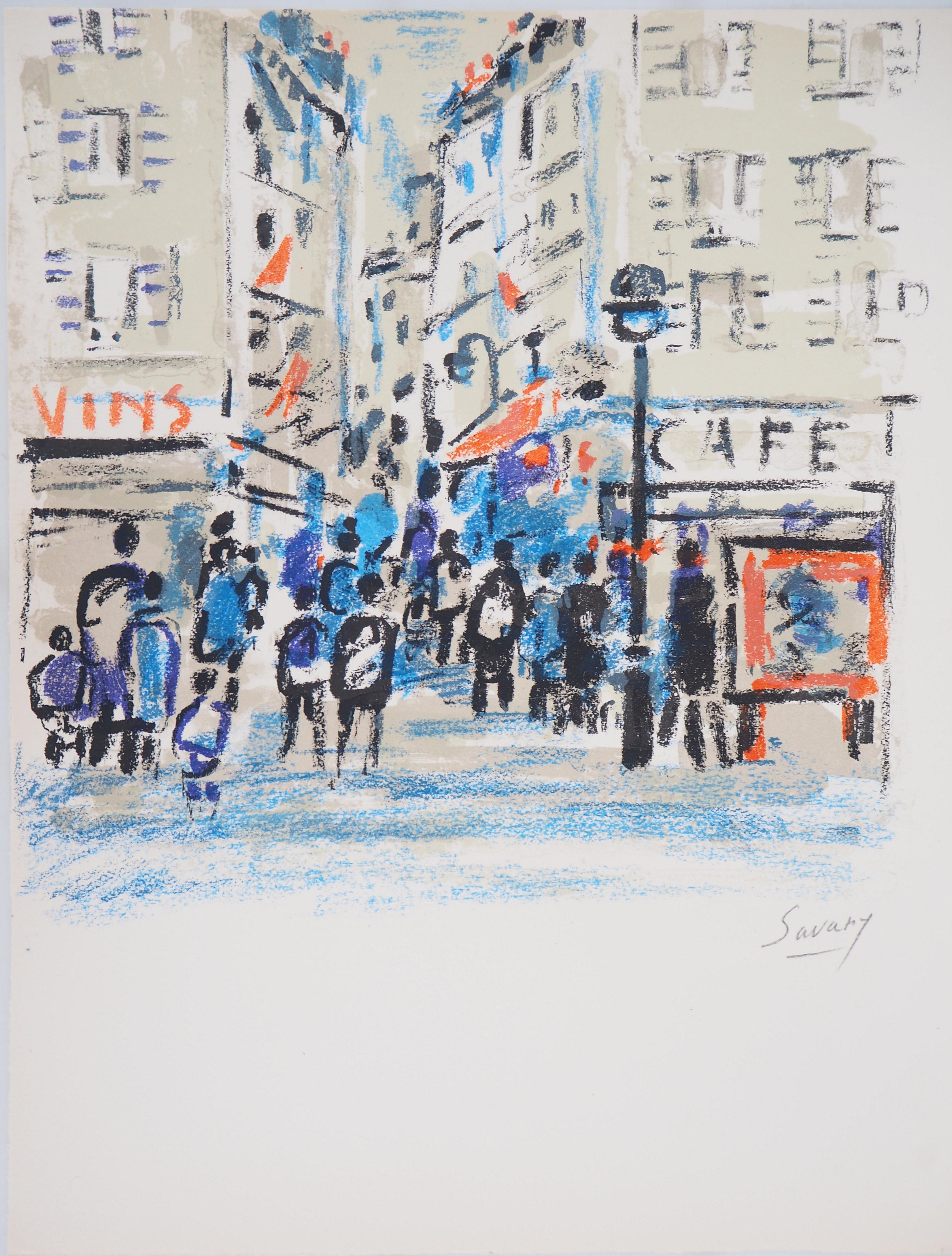 Paris : Animated Street - Original Lithograph, Handsigned