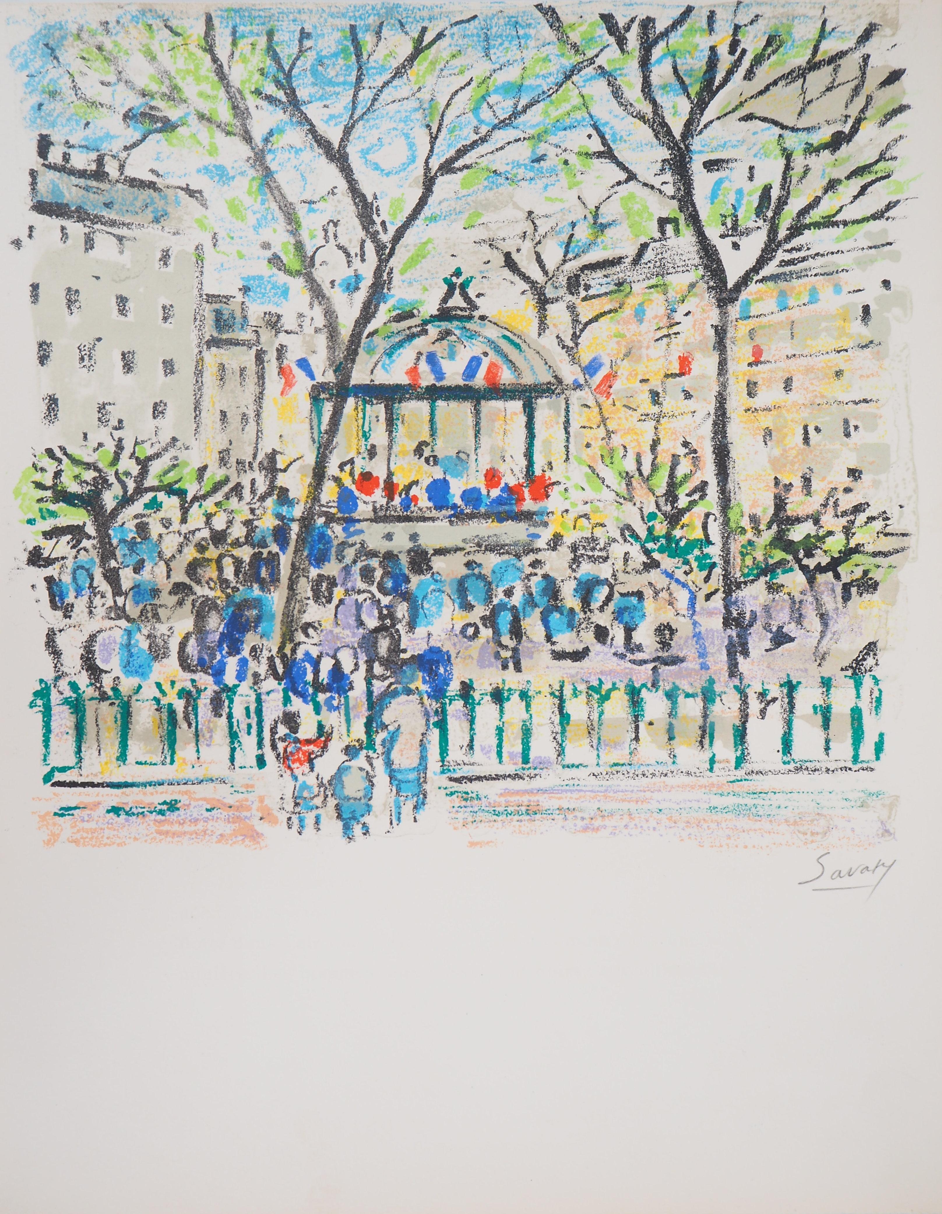 Paris : Bandstand Near Nation Square - Original Lithograph, Handsigned