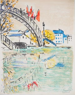 Paris : Bridge over Canal Saint Martin - Original Lithograph, Handsigned