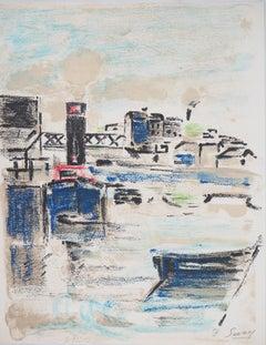 Paris : Houseboats on Seine River - Original Lithograph, Handsigned