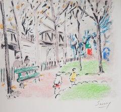 Paris : Monceau Park - Original Lithograph, Handsigned
