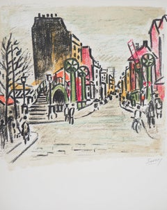 Paris : Near Canal Saint Martin - Original Lithograph, Handsigned