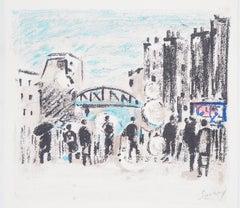 Paris : Near Saint Lazare Rail Station - Original Lithograph, Handsigned