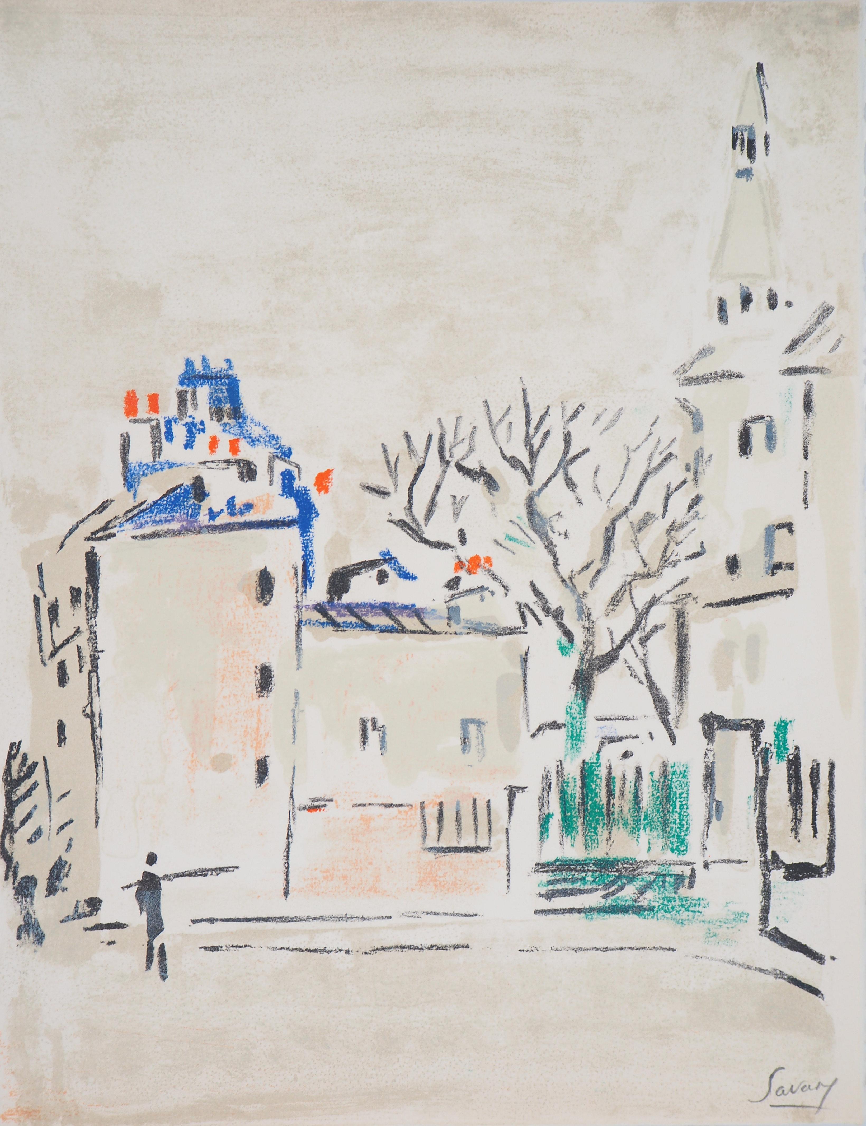 Paris : Small Square in Montmartre - Original Lithograph, Handsigned
