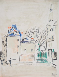 Paris : Small Square in Montmartre - Original Lithograph, Handsigned