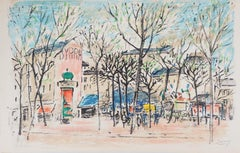 Paris : Square with Morris Column - Original Lithograph, Handsigned