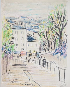 Paris : Stairs of Montmartre (Caulaincourt) - Original Lithograph, Handsigned
