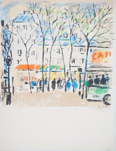 Paris : Street Market - Original Lithograph, Handsigned