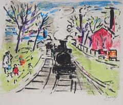 Paris : The Old Steam Train - Original Lithograph, Handsigned