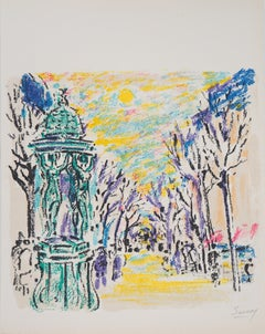 Paris : Wallace Fountain - Original Lithograph, Handsigned