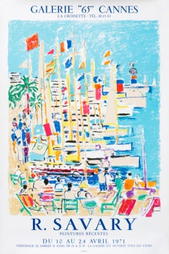 """""""R. Savary Peintures Recentes - Galerie 65 Cannes"""" French sailing poster"""