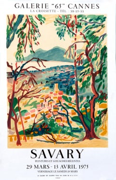 """""""Savary - Galerie 65 Cannes"""" Vintage French Riviera Grasse Landscape poster"""