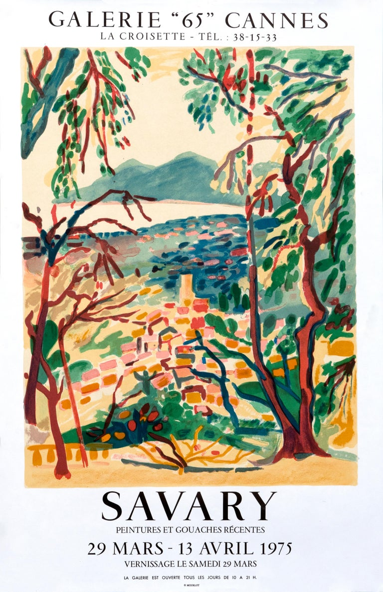 """""""Savary - Galerie 65 Cannes"""" Vintage French Riviera Grasse Landscape poster - Print by Robert Savary"""