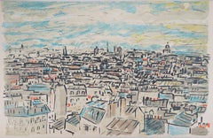 View on the Roofs of Paris - Original Lithograph, Handsigned