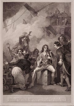 """An 18th Century Etching/Engraving of """"Earl Sandwich Refusing to Leave His Ship"""""""