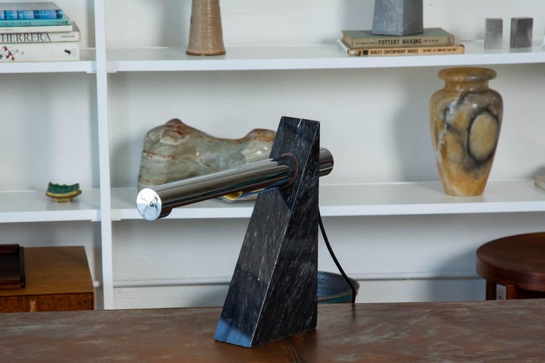 Robert Sonneman Chrome and Marble Table Lamp For Sale 3