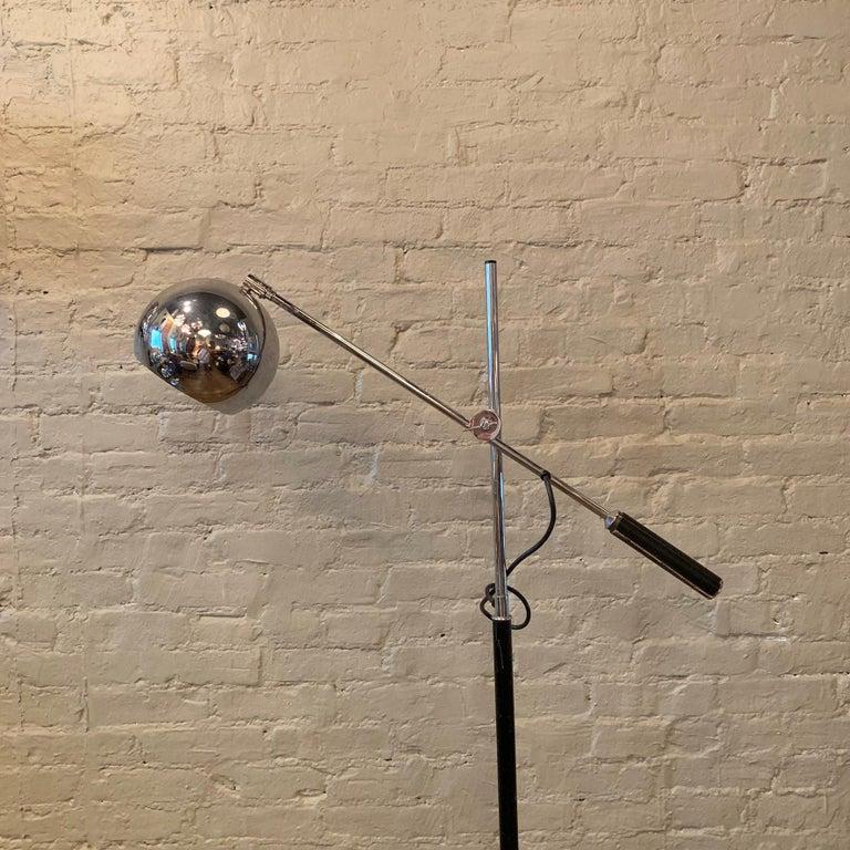 American Robert Sonneman Chrome Eyeball Extension Arm Floor Lamp For Sale