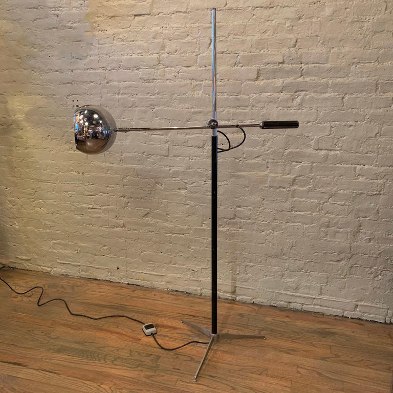 Leather Robert Sonneman Chrome Eyeball Extension Arm Floor Lamp For Sale