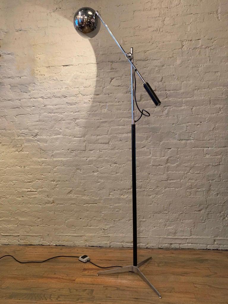 Robert Sonneman Chrome Eyeball Extension Arm Floor Lamp For Sale 1