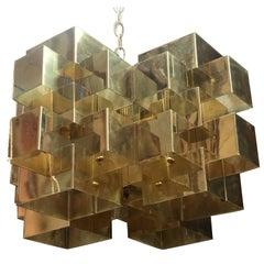 "Robert Sonneman Designed ""Cityscape"" Brutalist Brass Chandelier"