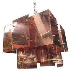 "Robert Sonneman Designed ""Cityscape"" Brutalist Chandelier"