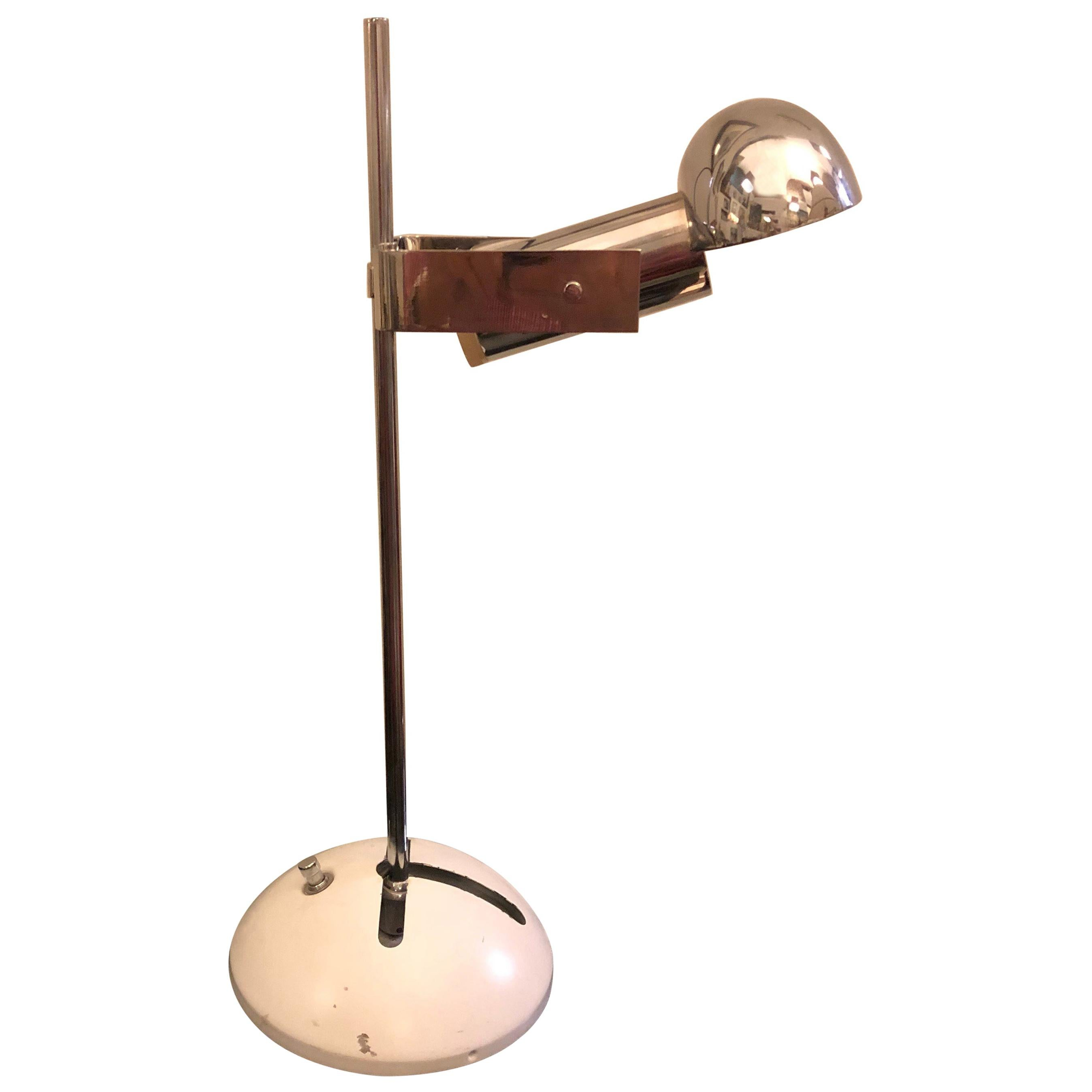 Robert Sonneman for Luci Milano Steel and White Metal Table Lamp, 1970s