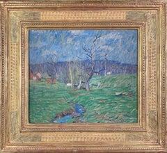 Meadowland, American Impressionist Landscape, Frederick Harer Frame, Signed