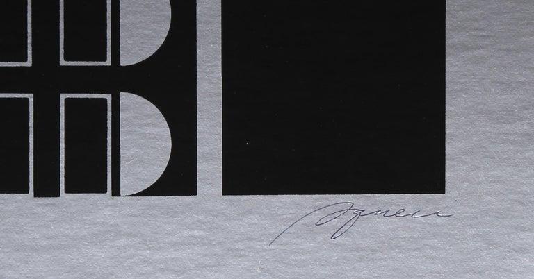 Black Silver, Silkscreen on Foil by Robert Squieri - Abstract Geometric Print by Robert Squeri