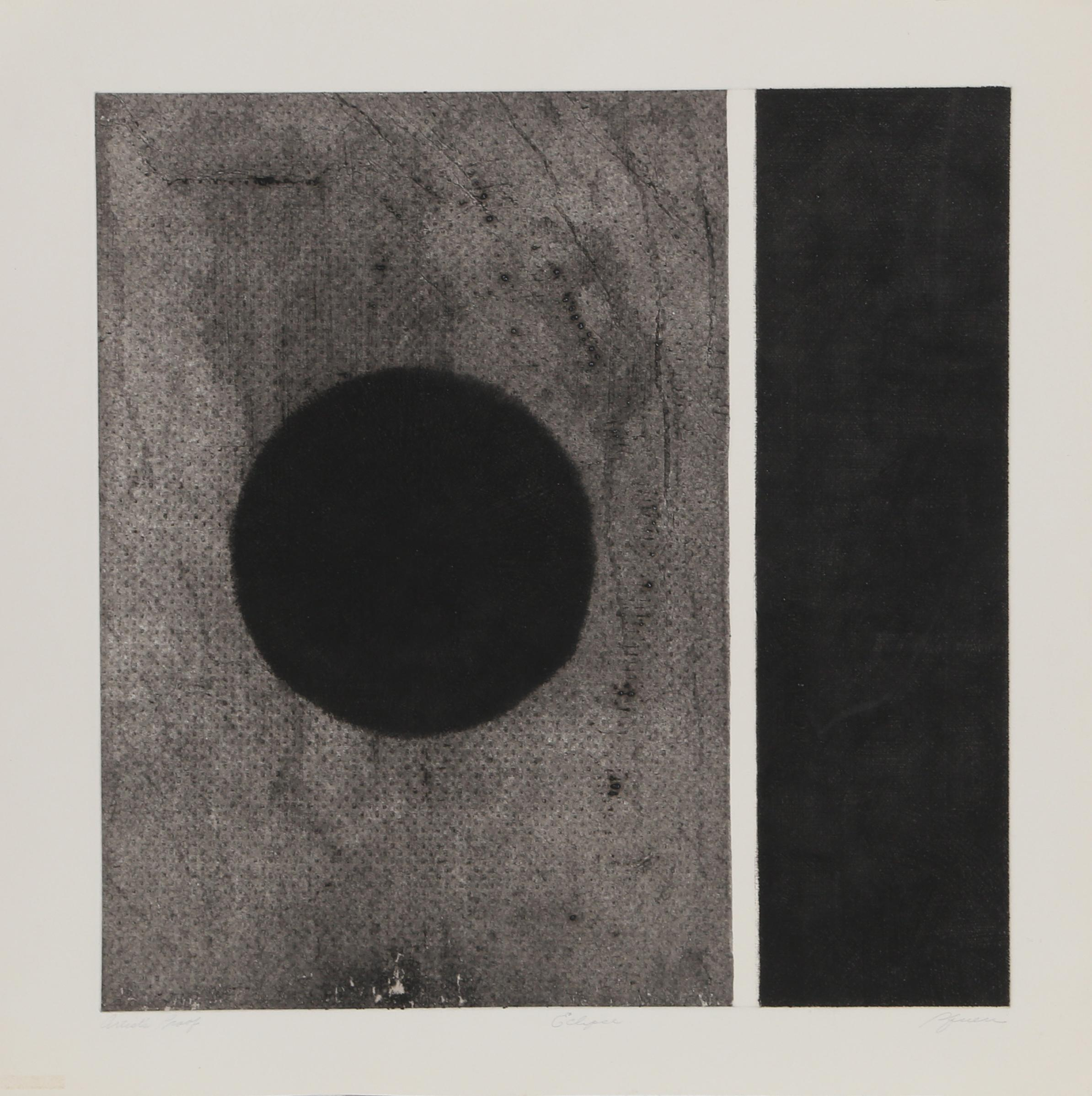 """Eclipse"" Minimalist Aquatint Etching by Robert Squieri"