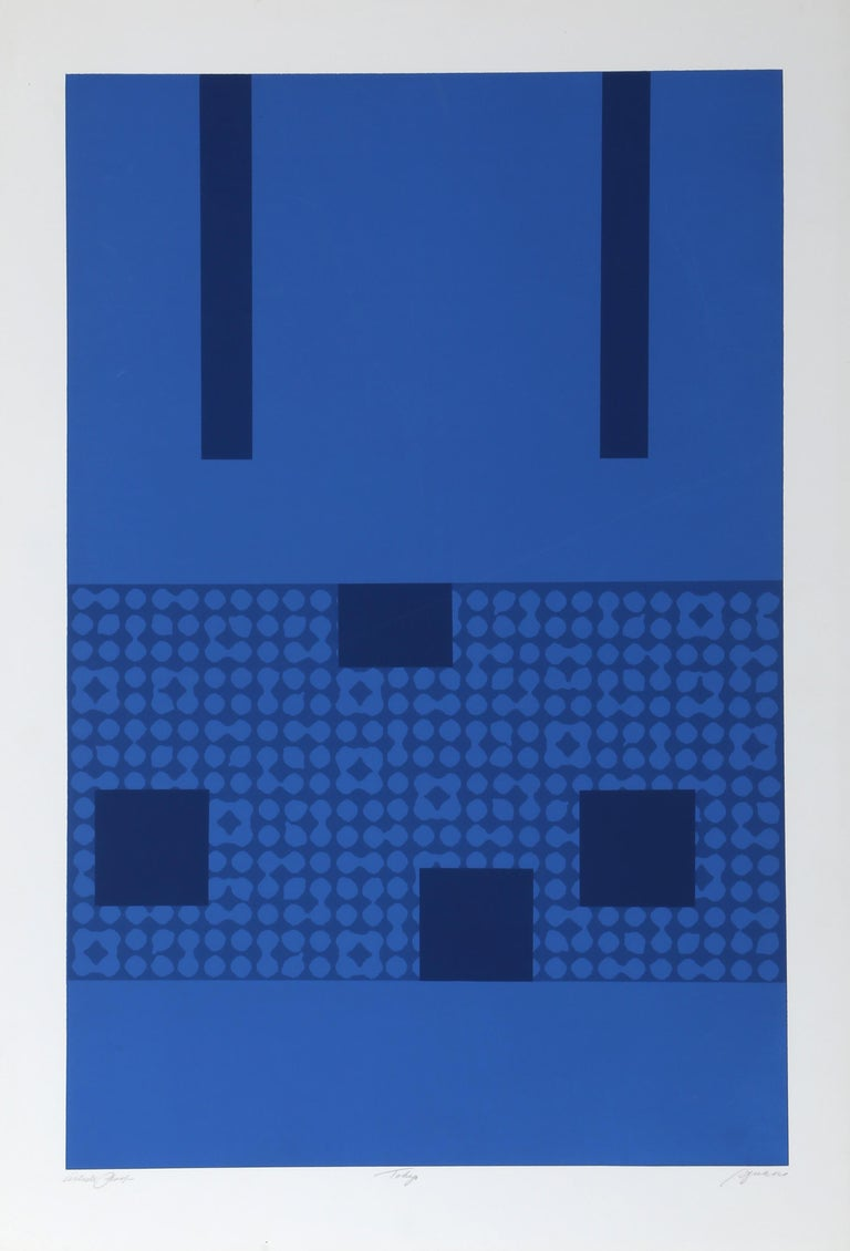 Artist: Robert Squeri, American (1923 - ) Title: Tokyo 3 Year: circa 1970 Medium: Silkscreen, signed and numbered in pencil Edition: AP Image Size: 27 x 16.5 inches Size: 31 x 21.5 in. (78.74 x 54.61 cm)