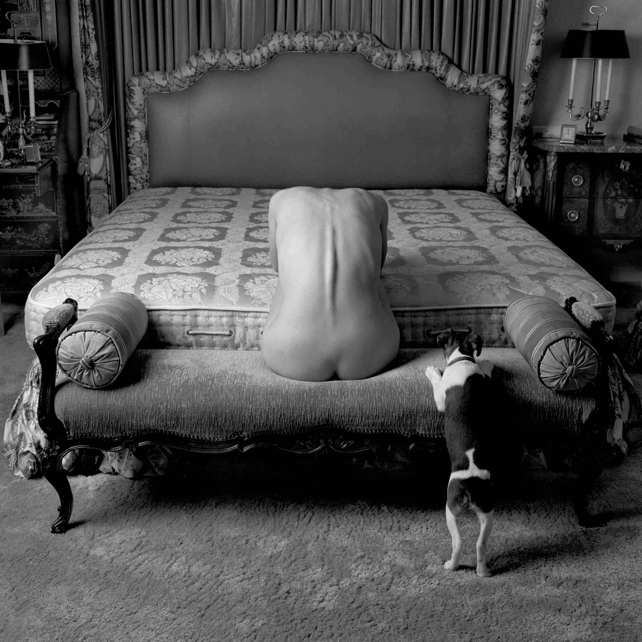 Woman, Dog, Bed