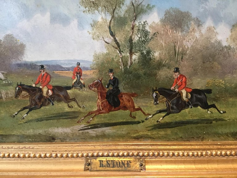 British Robert Stone Hunting Scene Oil on Board in Period Frame For Sale
