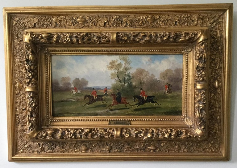 Robert Stone Hunting Scene Oil on Board in Period Frame In Good Condition For Sale In Melbourne, Victoria
