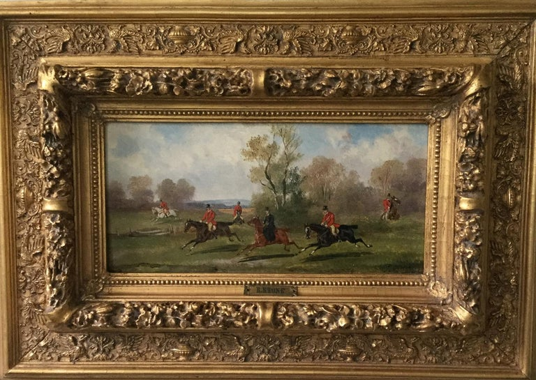 Mid-19th Century Robert Stone Hunting Scene Oil on Board in Period Frame For Sale