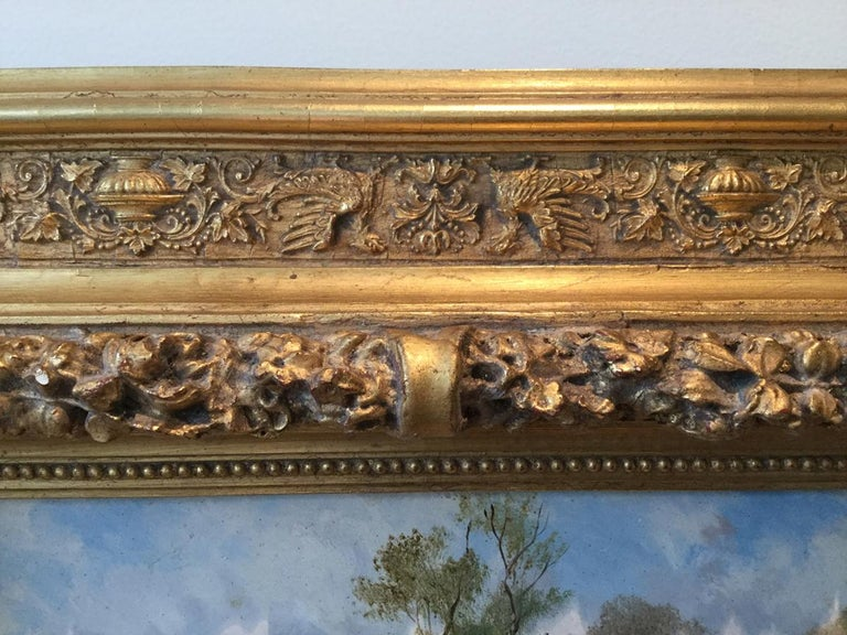 Wood Robert Stone Hunting Scene Oil on Board in Period Frame For Sale