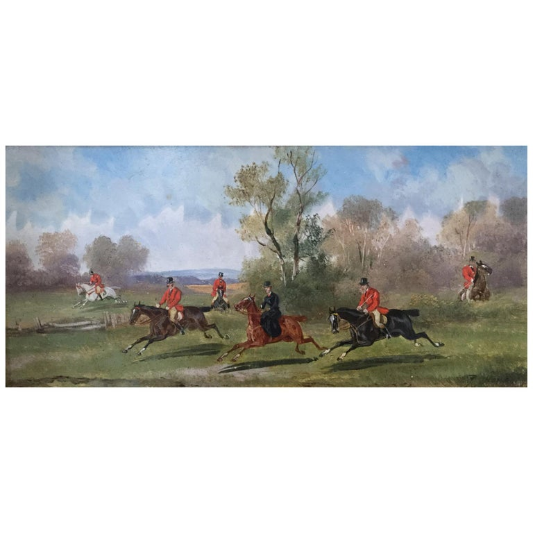 Robert Stone Hunting Scene Oil on Board in Period Frame For Sale