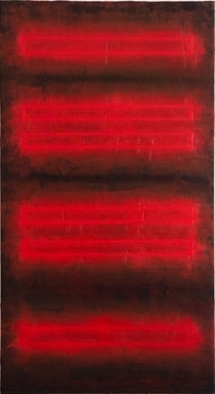 Red Painting, oil and wax minimal color field abstract painting, 2020