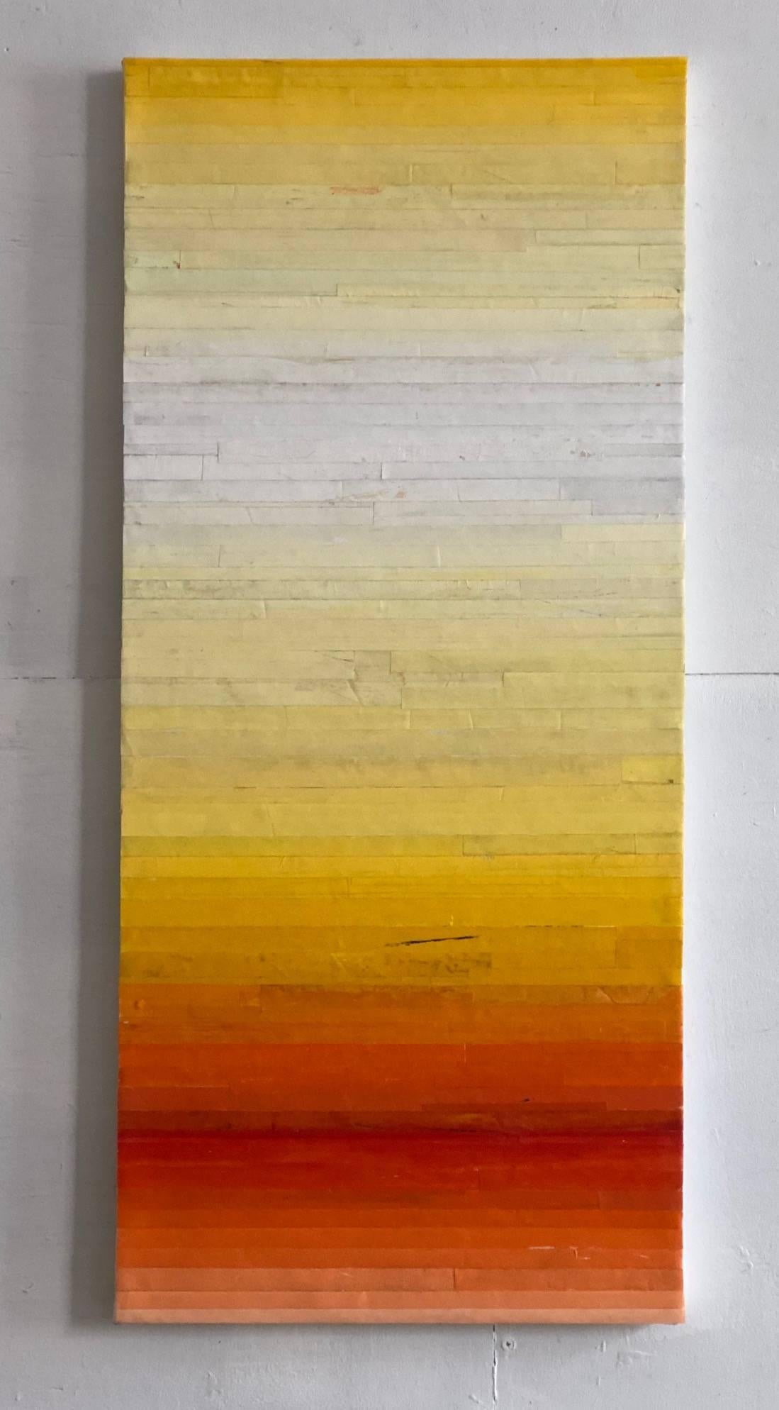 Robert Stuart, Sunset, Abstract geometric oil, collage, and wax on canvas, 2018