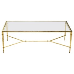 Robert Thibier French Gilt Wrought Iron Coffee Table, 1960s