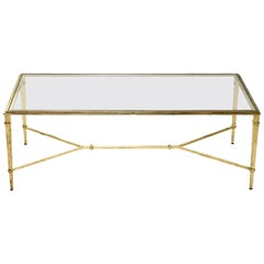 Robert Thibier Gilt Wrought Iron Coffee Table, 1960s