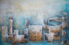 In Our Sleep Where We Meet, contemporary mixed media blue painting
