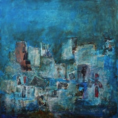 No time to rest, Contemporary Art Mixed Media Blue Acrylic Painting