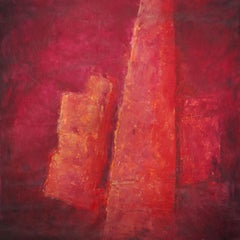 Formations, red abstract structures oil and mixed media painting